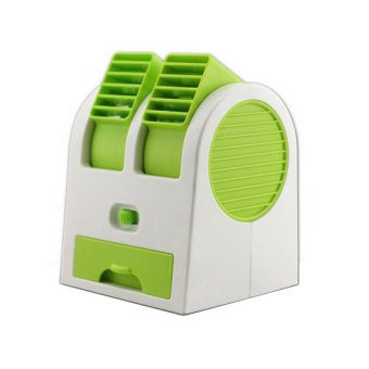 Harga Mini AC Cooling Fan Portable Double Blower - Green