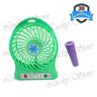 Harga Lucky Kipas Angin Rechargeable Mini Baerry Charge Plus Usb Cable - Hijau