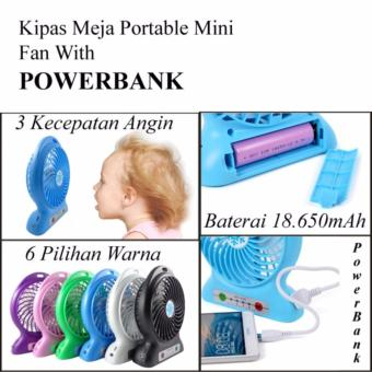 Harga Lucky Kipas Angin Rechargeable Mini Baterry Charge Plus POWERBANK Function