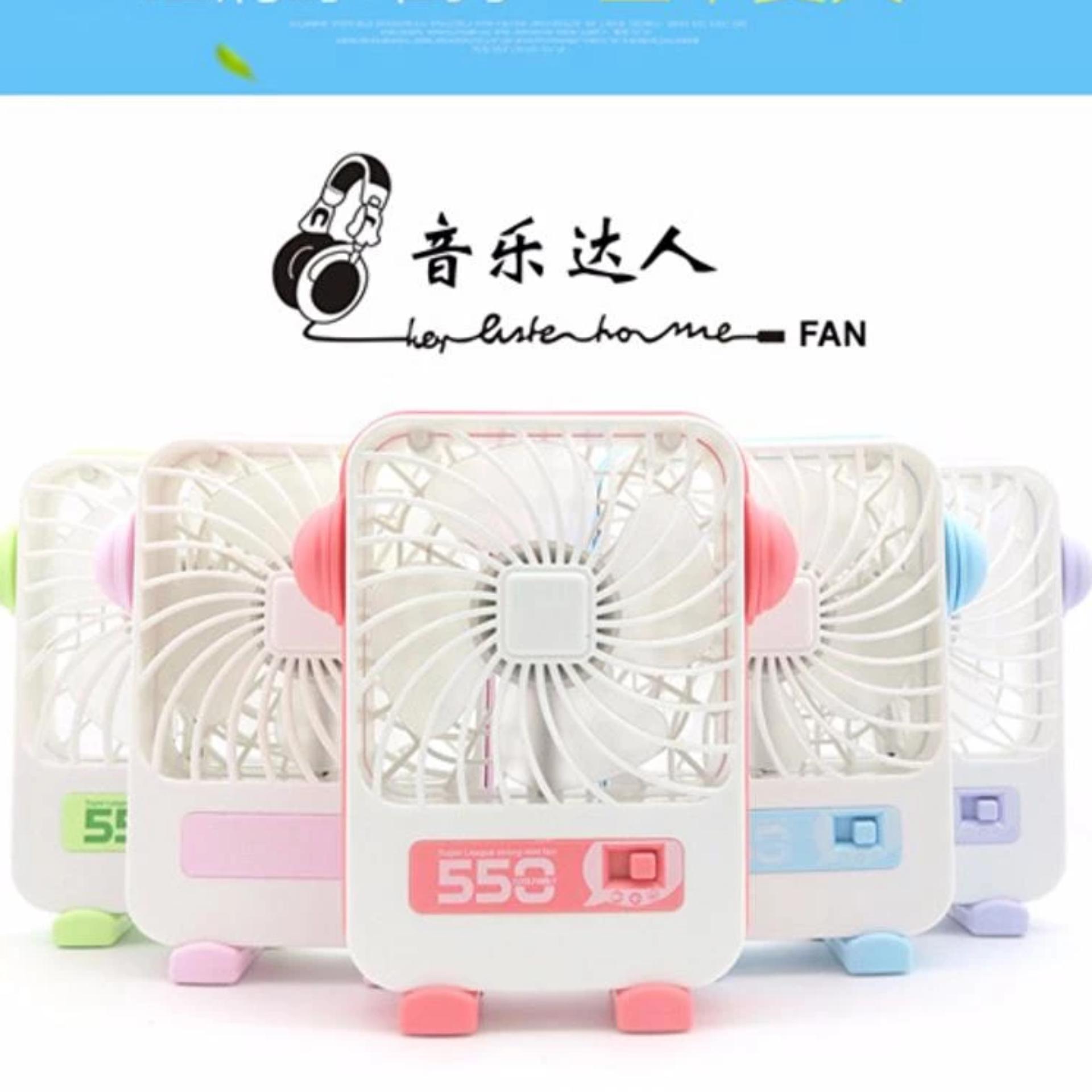 USB Mini Fan 550 Rechargeable Portable Kipas Angin Mini - MusicTalent - Hijau .