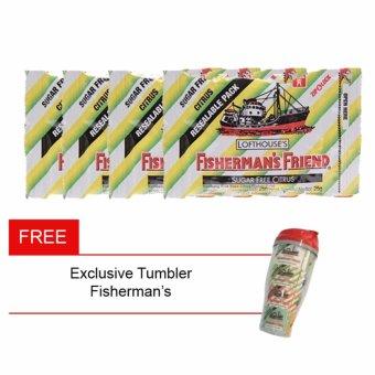 Fisherman'S Friend Sugar Free Citrus Mint 25gr Bundle 4 FreeTumbler