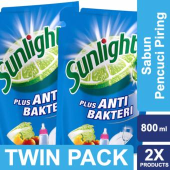 Sunlight Sabun Cuci Piring Anti Bakteri Refill 800ml Twin Pack