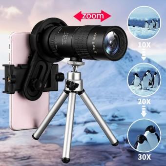 10-30x Adjustable Night Vison Telescope Monocular Camera Lens+ Phone Clip+Tripod - intl