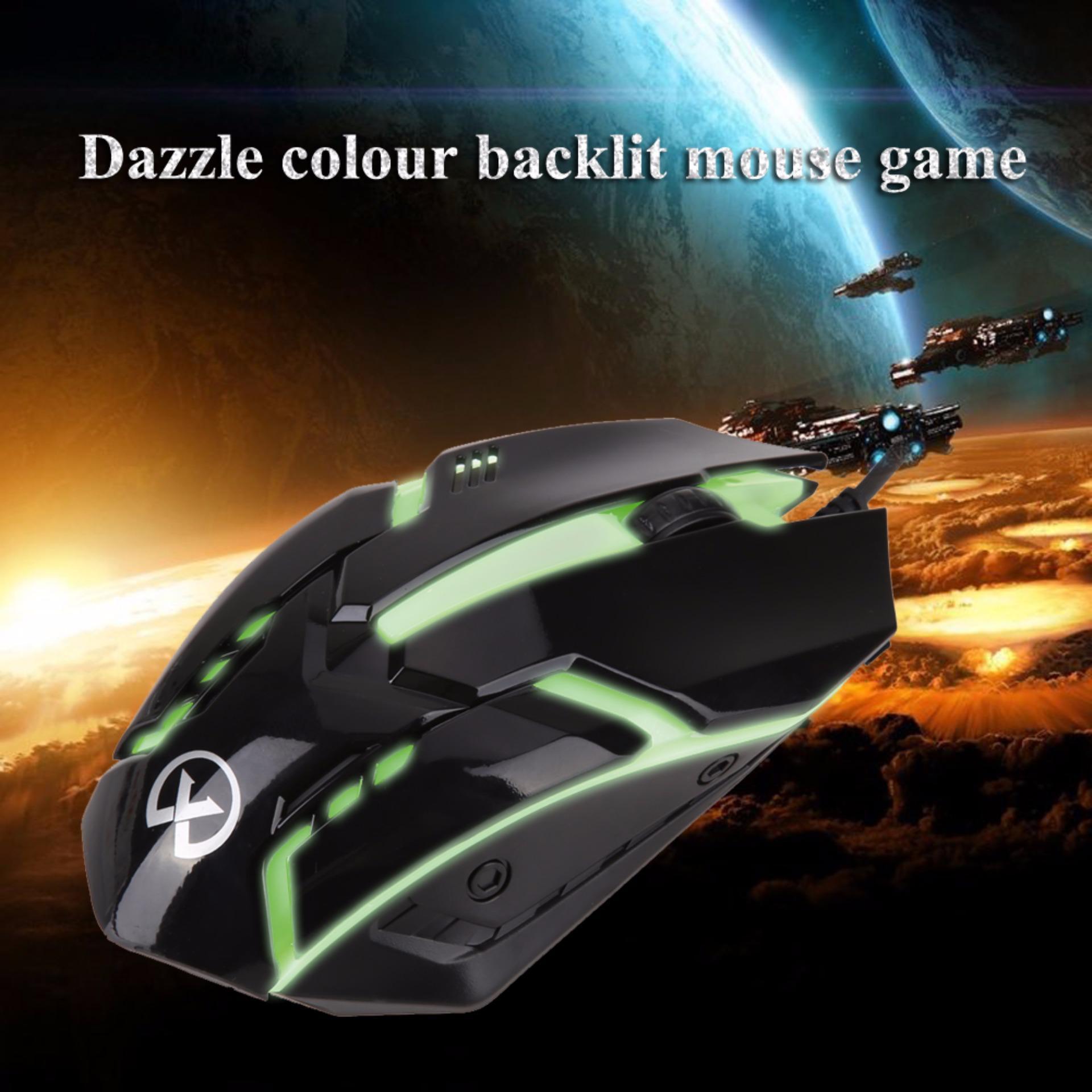 ... 1600 dpi USB LED warna-warni kabel optik 3D Gaming Mouse (hitam) ...