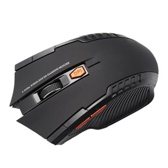 2.4 GHz Nirkabel 2400 Dpi 6 Tombol USB Optical Gaming Mouse untuk PC Laptop (Hitam)-Intl