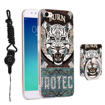 3 in 1 Cute Phone Case 3D Relief Pattern Back Cover for BBK Vivo V5 Plus X9 with Phone Lanyard Ring Holder Kickstand - intl