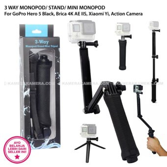 3 WAY MONOPOD/ STAND/ MINI MONOPOD For GoPro Hero 5 Black, Brica 4K AE IIS, Xiaomi Yi, Action Camera