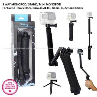 3 WAY MONOPOD/ STAND/ MINI MONOPOD For GoPro Hero 5 Black, Brica 4K AE IIS, Xiaomi Yi, Action Camera