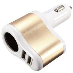 3.1 Port USB Ganda Cara Soket Charger Tenaga Mobil Rokok Adaptor Cahaya (emas)
