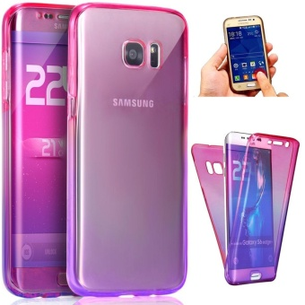 Belanja murah 360 Degree Full Body Front and Back Cover Non-slip Shock-AbsorptionProtective Skin Shell Transparent Soft TPU Case for Samsung GalaxyS7 Edge ...