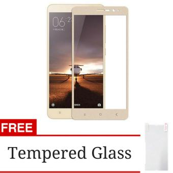3D Full Cover Tempered Glass Warna Screen Protector for XiaomiRedmi Note 3 / Note 3 Pro - Gold + Gratis Tempered Glass Clear