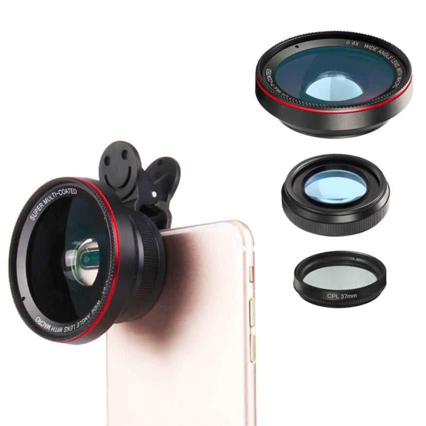 ... 3in1 Klip Pada Perlengkapan Lensa Kamera Lebar Sudut Ikan Mata Macro 10x Zoom untuk Ponsel Pintar