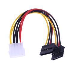 4Pin IDE untuk 2 seri ATA SATA y tenaga pembelah harddisk kabel adaptor
