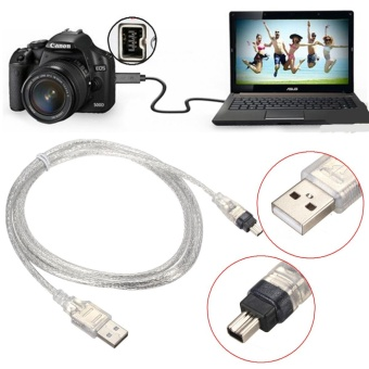 5FT USB 2.0 Male to 4 Pin IEEE 1394 Cable FireWire Adapter Converter Cord Sliver -