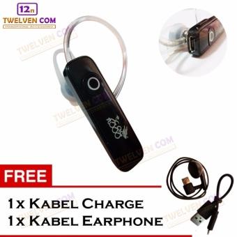 888 Wireless Bluetooth Earphone - Hitam - Free Kabel Charge dan Kabel Earphone