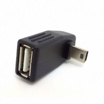 90 derajat tegak Anlgled OTG wanita untuk mini USB 5Pin adaptor mobil aux tablet untuk laki