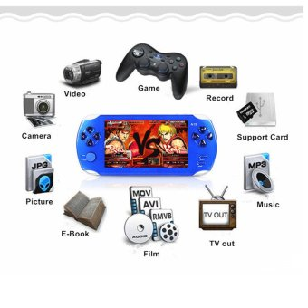 Harga 9000+ Free Games 5 Inch 8G PSP Game Player Handheld GBA ConsolesBig Screen MP3/MP4/MP5/FM/Camera (Blue) - intl