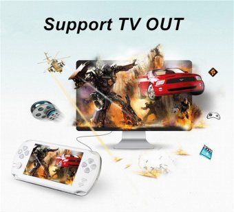 Harga 9000+ Free Games 5 Inch 8G PSP Game Player Handheld GBA ConsolesBig Screen MP3/MP4/MP5/FM/Camera (White) - intl