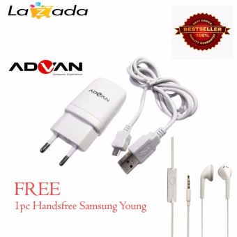 ADVAN charger adapter 2in1 with deta chable USB data cable for android - Putih + Samsung Original Handsfree/Earphone Young/wonder S6310/5360 - Putih