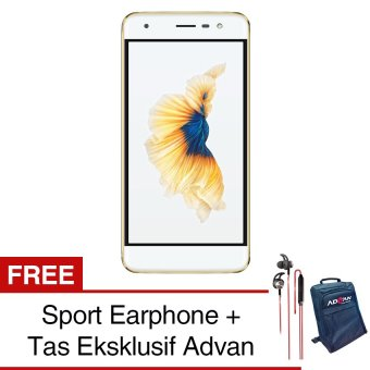 Advan G1 4G - Gold - Free Sport Earphone + Jelly Case - Free Eksklusif Tas Advan