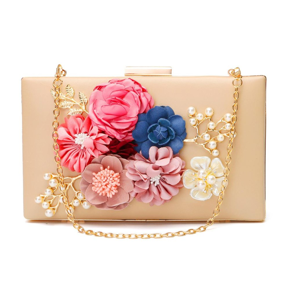 AEQUEEN Women Floral Evening Clutch Bags Ladies Day Clutches Retro Beaded Pearl Wedding Party Bags Women