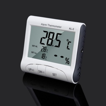 AL-2 LCD Digital Temperature Humidity Meter Clock Alarm Thermometer Hygrometer - intl