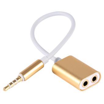 Aluminium 3.5mm MALE To Female Headphone 2 Splitter Kabel Adaptor untuk Smartphone Glod-Intl