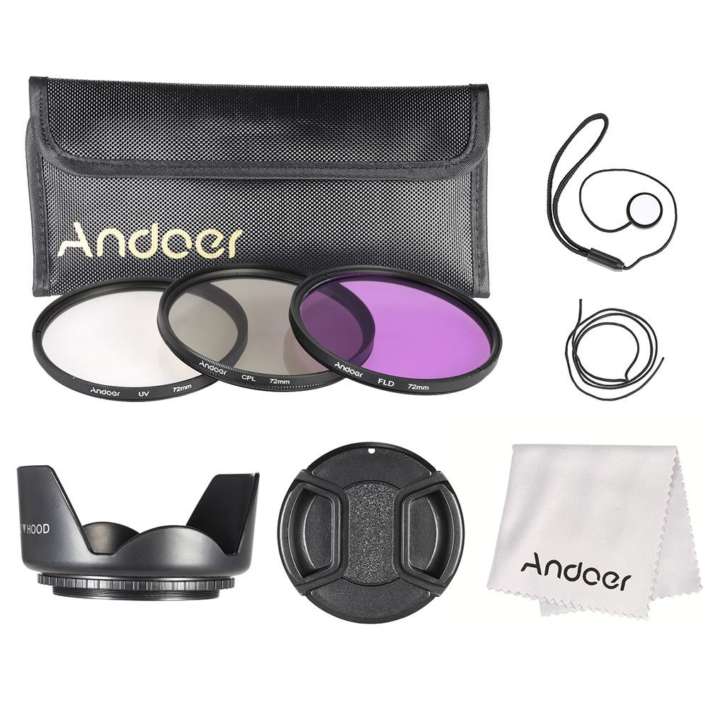 Andoer 72 mm saring kit (UV + CPL + FLD)/nilon membawa kantong/Cap/tutup lensa pemegang // kain pembersih lensa kap lensa