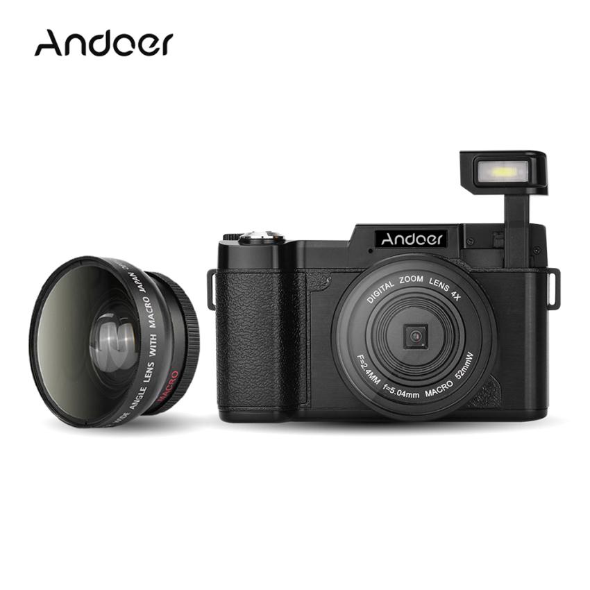 Andoer CDR2 1080P 15fps Full HD 24MP Digital Camera 3.0 RotatableLCD Screen Anti-shake 4X Digital Zoom Built-in RetractableFlashlight Video DV Recorder Cam Camcorder w/ Wide-angle Lens &UV Filter - intl