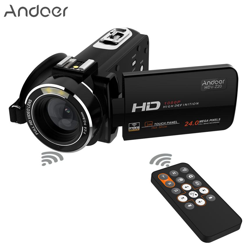 Andoer HDV-Z20 Portabel 1080 P HD Penuh Kamera Video Digital Max 24 Megapiksel 16X Digital Camcorder Menderu 3.0 Inci LCD Layar Sentuhdengan Remote Mengendalikan Diputar Dukungan Koneksi WiFi