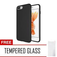 Anti Fingerprint Ultraslim Hybrid Case Baby Soft Babby Skin Softase Silicon Matte for Apple iPhone 7 Plus - Black + Free Tempered Glass