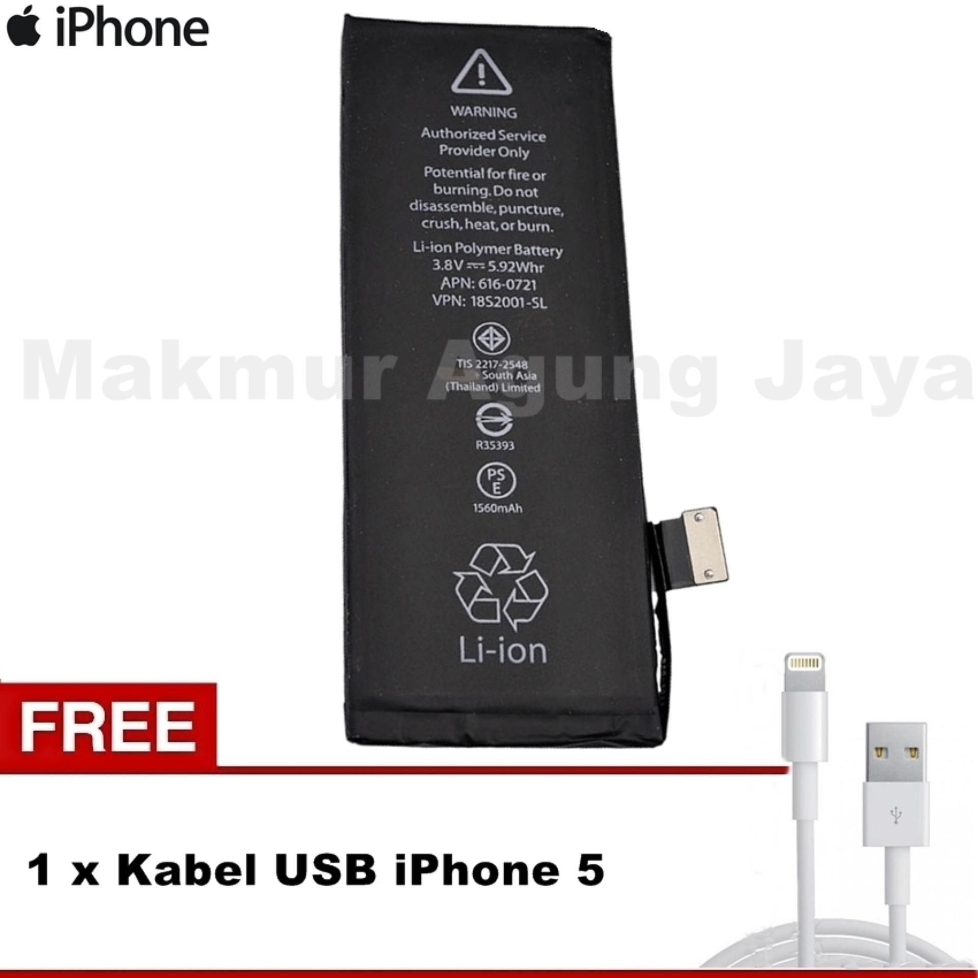 Apple Baterai Iphone 5g Genuine Standart Battery Original Hippo 4s 1430 Mah Premium Cell Quality Pencari Harga 5 5s 1560mah Free Kabel Usb