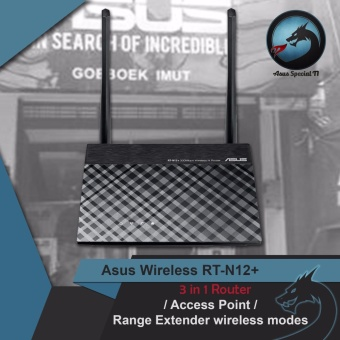 Asus RT-N12+ N300 Mbps Wireless Router Access Point Range Extender RESMI