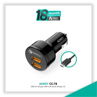 Aukey CC-T8 36W 2-Port USB Car Charger with Quick Charge 3.0 - Hitam
