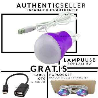 Authentic Bohlam 5 Watt Kabel USB Emergency LED Bulb - Lampudarurat Gratis Pop Socket / Popsockets + Kabel OTG Micro USB (Onthe Go)