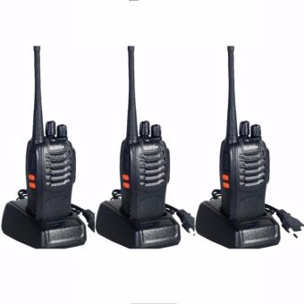 Baofeng Walkie Talkie Radio HT PAKET 3 PC 16CH PAKET 5 PC Senter LED Komunikasi UHF 16 Channel Memory Clear Audio Handy Talkie Praktis Handal - Hitam
