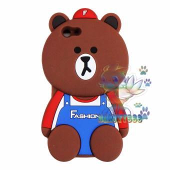 Beauty Bear Case 3D Oppo F1S A59 Silicone 3D Brown Bear ClothesOverall Design FASHION / Case Boneka Baju Beruang / Casing OppoBoneka Unik - Brown Line Bear FASHION