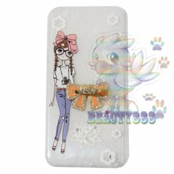 Beauty Case For Oppo F1S A59 Selfie Expert Softshell Swarovski Animasi Cute Girl With Glasses +