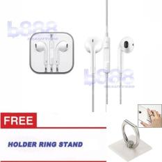 Beauty Handsfree +  (FREE RING STAND) For Apple iPhone 5/5c/5s Headset / Earphone For All Phone Model Stereo - White/Putih
