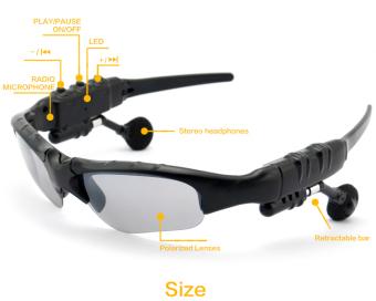 Harga Bebas genggam Bluetooth Wireless MP3 headphone kacamata hitamkacamata sport kacamata mengemudi mobil (hitam) International Terbaru klik gambar.