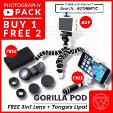 Beli 1 Dapat 2 Gratis - Authentic Gorilla Pod Flexible Tripod Holder U Bonus Tongsis / Monopod + Lensa 3 in 1 (Super Wide , Macro , Fish Eye)