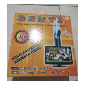 Bentz Antena Kabel Tv Coaxial Rg 6 5c 2v 75ohm 20m 20 Meter + Drat