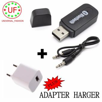 Bluetooth Audio Receiver Wireless Musik - hitam + Adapter Charger