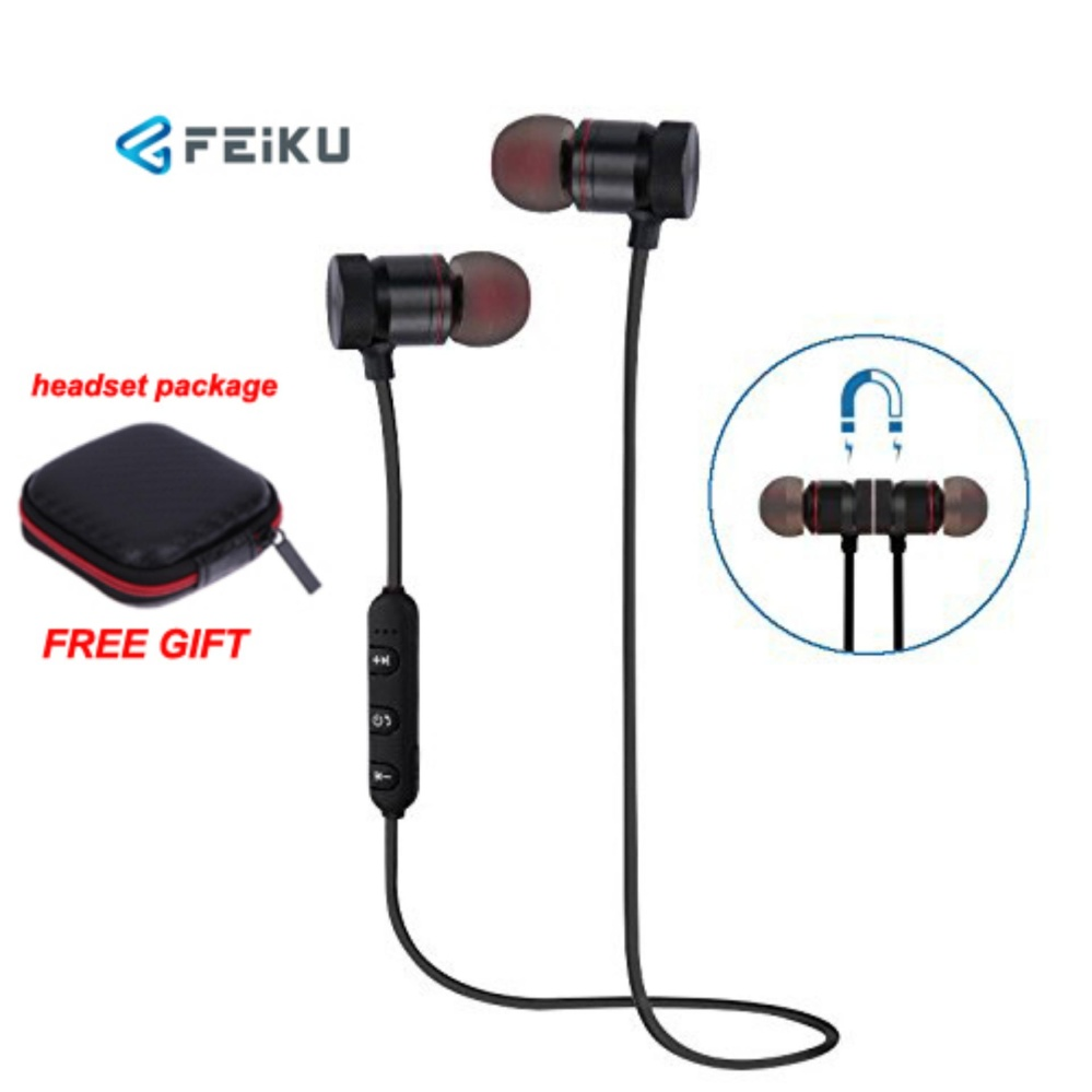 Bluetooth Headphone, EarTime Nirkabel V4.1 Earphone Telinga Magnetik In-Ear Olahraga Sweatproof