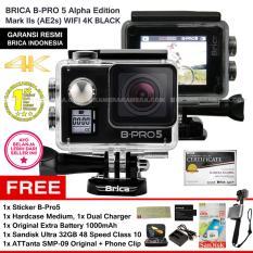 BRICA B-Pro5 Alpha Edition 4K Mark IIs (AE2s) BLACK + Sticker B-Pro + Sandisk Ultra 32Gb Speed48 Class10 + Tongsis Attanta SMP-09 Original + Phone Clip + Battery 1000 mAh + Charger + Hardcase Medium