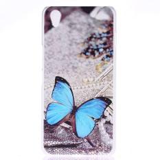 Butterfly Clear Edge Plastik Keras Lukisan Belakang Sampul Case untuk OPPO A30 (Clear)-Intl