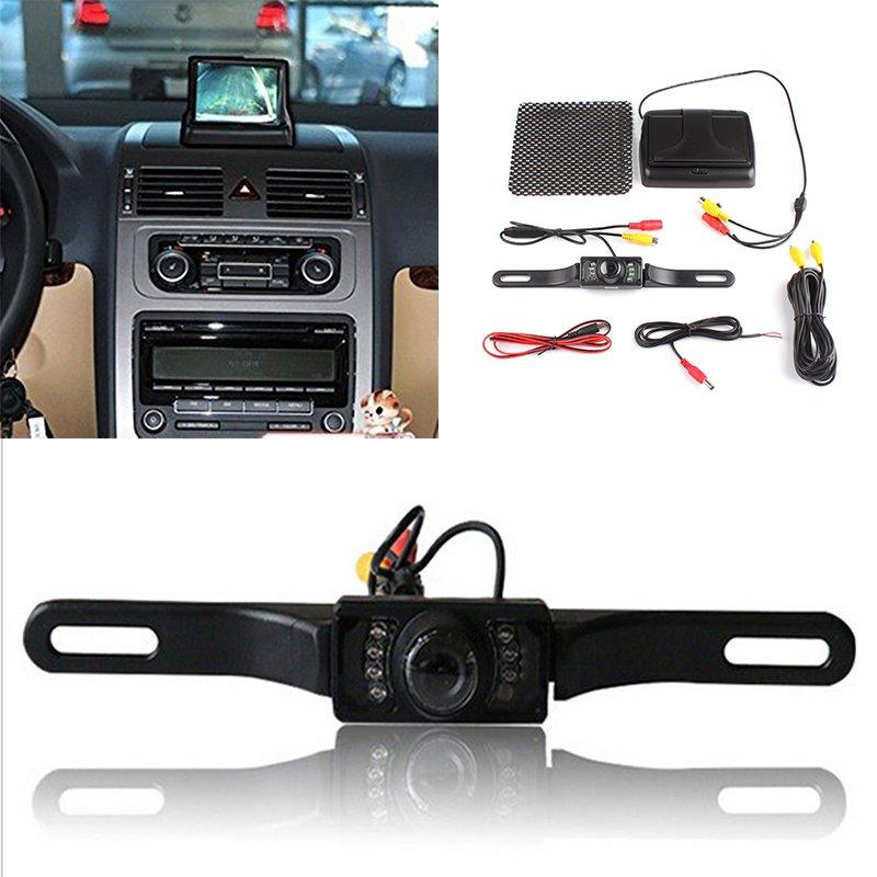 BUYINCOINS 4,3 inci LCD lipat tampilan monitor + HD kamera mundurbelakang mobil