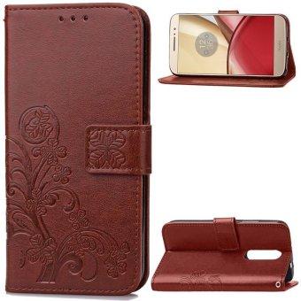 BYT Bunga Debossed Leather Flip Cover Case untuk Motorola MOTO M-Intl