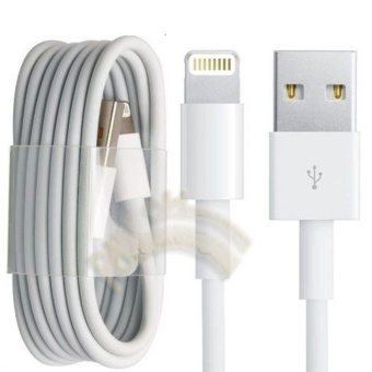 Harga Cable iPhone Lightning Kabel Data Iphone Lightning USB 100cm iPhoneSE/ Iphone5 / iphone 5s / iphone 6 / iPhone 6s iPhone 6 Plus iPhone7 iPhone 7 Plus Kabel Iphone - White