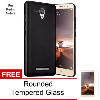 Calandiva 360 Degree Protection Case for Xiaomi Redmi Note 2 / Redmi Note 2 Prime / Redmi Note 2 Pro (Black) + Free Rounded Tempered Glass